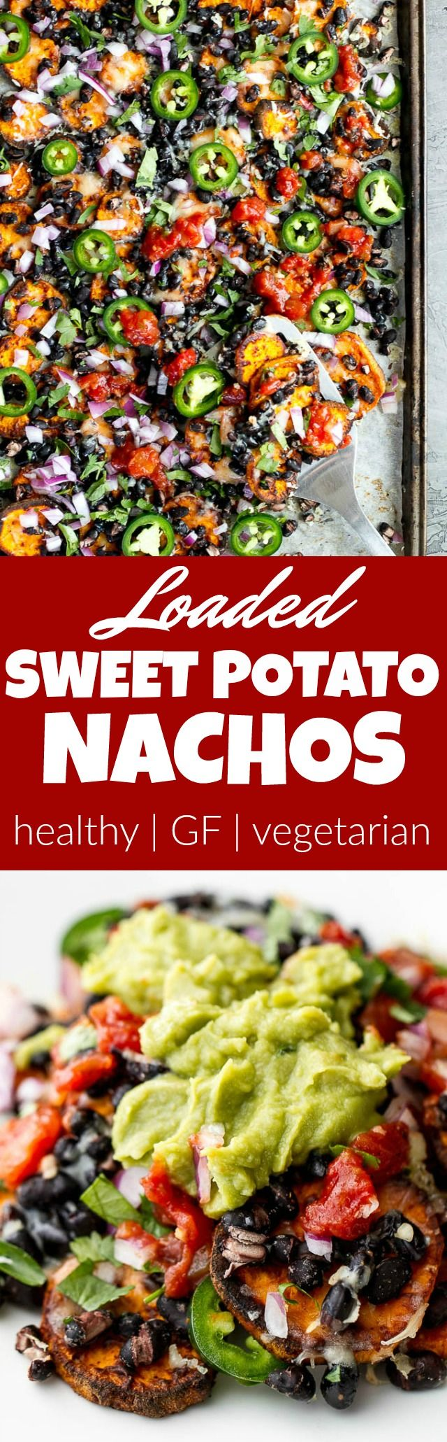 Loaded Sweet Potato Nachos - seasoned baked rounds topped with black beans, jalapeños, onions, cheese, salsa, and guacamole for an easy vegetarian, Mexican-inspired meal that's way healthier than traditional nachos | runningwithspoons.com