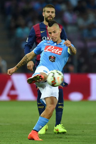 Marek Hamsik of SSC Napoli in action during the pre-season friendly match between FC Barcelona and SSC Napoli on August 6, 2014 in Geneva, Switzerland.