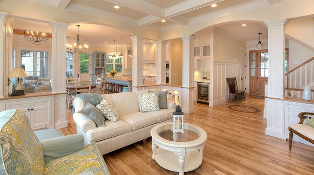 Bright Lamps in the Traditional Open Kitchen Floor Plans with White Island and some Wooden Stools