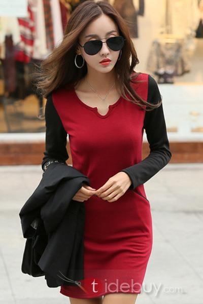 プラスサイズのコントラスト色長袖太いドレス