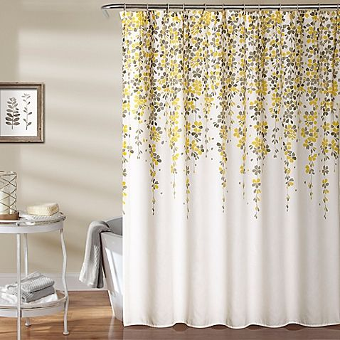 Our Weeping Flower Shower Curtain Beautifully Combines Yellow And Gray Tones To Help You Create A Calm Spa Like Atmosphere In Your Bathroom