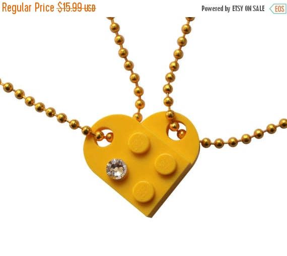 ON SALE Yellow 2 piece customizable heart made from 2 LEGO R #MademoiselleAlma #LEGO #ETSY