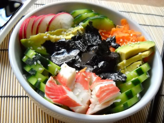 sushi bowls - Budget Bytes.  I usually add cooked shrimp instead of crab meat. Such a great easy lunch to prep at the start of the week.