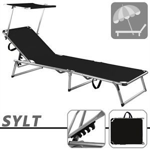 Folding Sun Lounger Recliner Chair Sun Shade Bed Outdoor Garden Loungers  Black Part 70