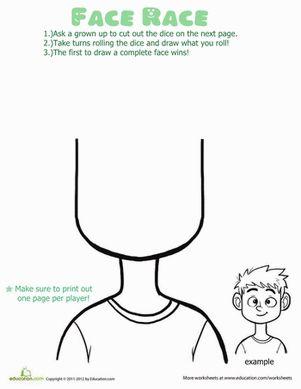 Preschool Printable Board Games Worksheets: Face Race Game! Worksheet