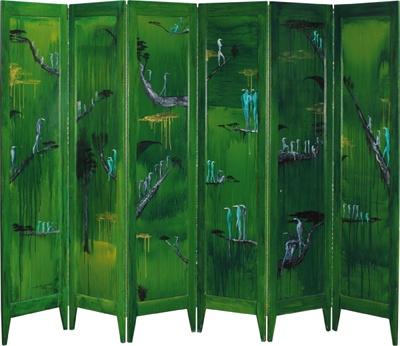 Bill Hammond Primeval Screen 1996-1997, acrylic on folding screen, six panels, 1715 x 2250mm