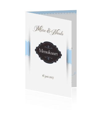 Een menukaart zelf maken voor de bruiloft of het huwelijk. Bestel er ook de bijpassende trouwkaart bij.