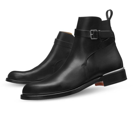 Him - Ankle Boots Hermes men's low boot in black smooth calfskin, inox plated Albion buckle, brushed palladium Galva spur