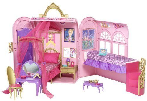 Inspired The New Animated Barbie Movie, Barbie Princess Charm School - Barbie Princess Charm School Princess Playset by Mattel. $49.99. Folds up for portable on-the-go convenience. Inspired the new animated Barbie movie, Barbie Princess Charm School. Includes bed that magically transforms spa bathtub, a princess tea set and lots of other fun details. Girls will love playing out scenes from the movie with this Princess Playset. Features a glam dorm room for two thats th...