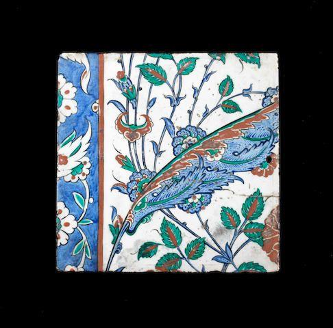 An Iznik pottery tile Turkey, circa 1570
