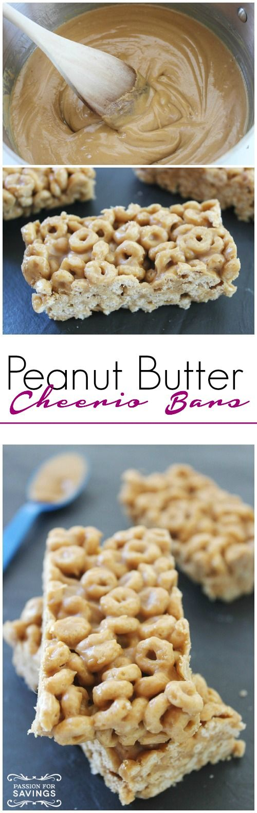Re-Pin By @siliconem -  Peanut Butter Cheerio Bars! Homemade Breakfast Recipe or Snack Recipe for an easy Treat!