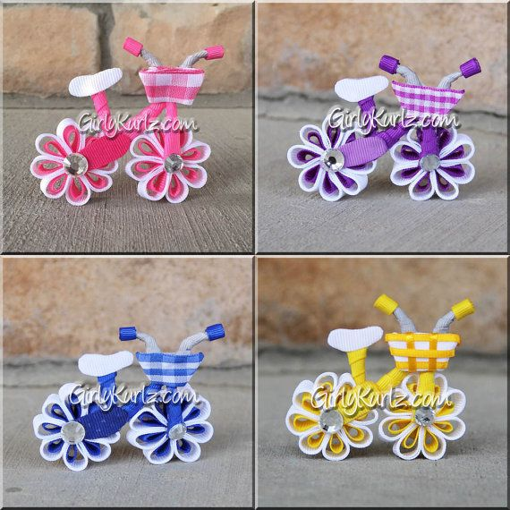 Pink Bicycle Hair Bow Bicycle Hair Clip Ribbon by GirlyKurlz