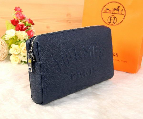 Hermes Grainy Leather Clutch H2152 Blue