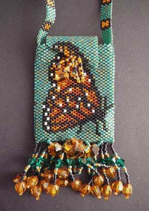 Butterfly Reflections beaded pouch necklace by Karen Francis, Mohawk