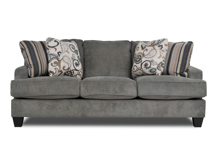 Living Spaces Yvette Steel Sofa... pillows are not my style, but I can work with the couch
