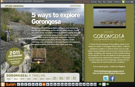 The last issue of Africa Geographic Safari shows the 5 Ways to explore the Gorongosa National Park (Mozambique).