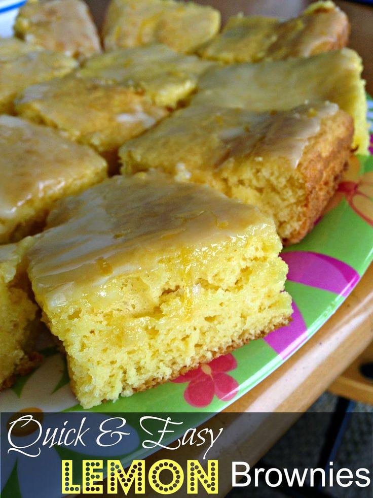 Quick and Easy Lemon Brownies {3 ingredients}