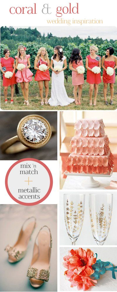 coral + gold wedding inspiration.