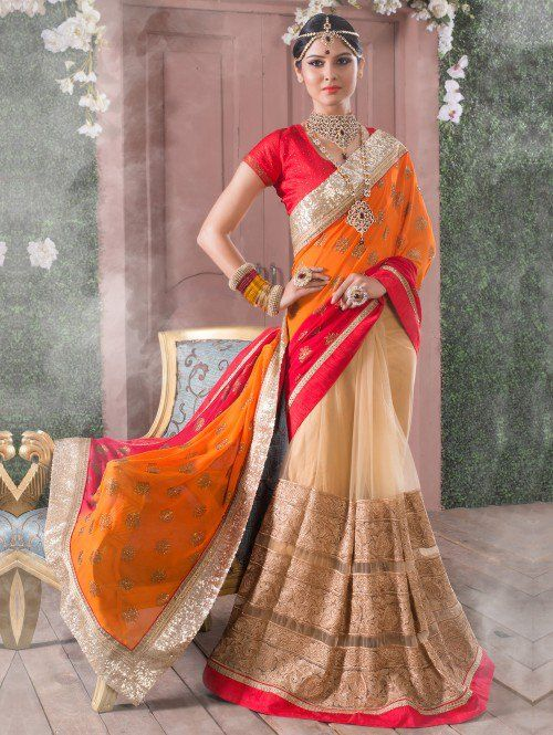 Orange and Cream Net Saree with Zari Work