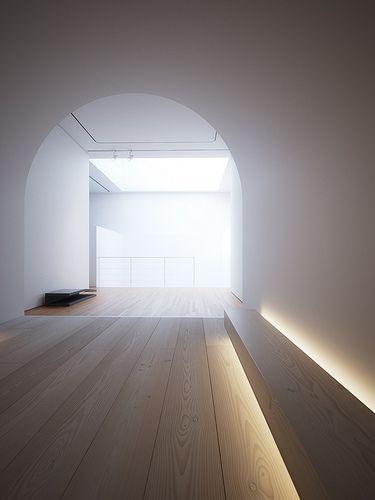 Combinaison de matériaux : bois,peinture blanche +rondeurs associées aux lignes Espace from John Pawson=<3