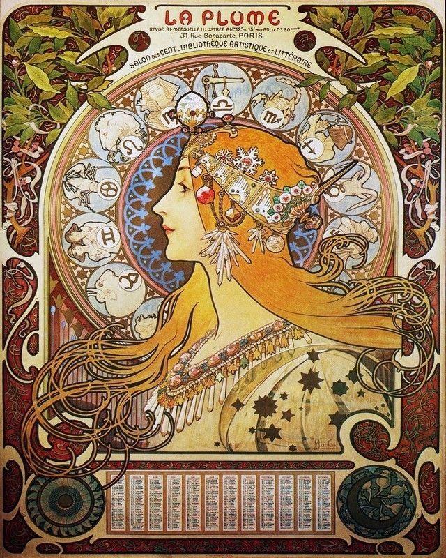 Zodiac Calendar,  (Year Unknown), Art Nouveau.