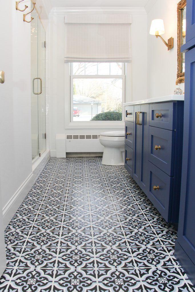 Flooring Tile 21st Century Tile Braga 8x8 Blue Grout White Patterned Bathroom Tiles Blue Tile Floor Tile Bedroom