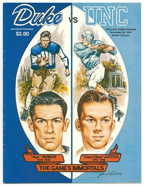 Duke vs. UNC Football Game Program Cover, November 24, 1979. UNC won 37–16.
