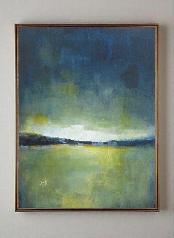 """Original acrylic painting - abstract landscape painting - green cobalt blue yellow - abstract painting - 9""""x12"""" by VESNAsART on Etsy"""