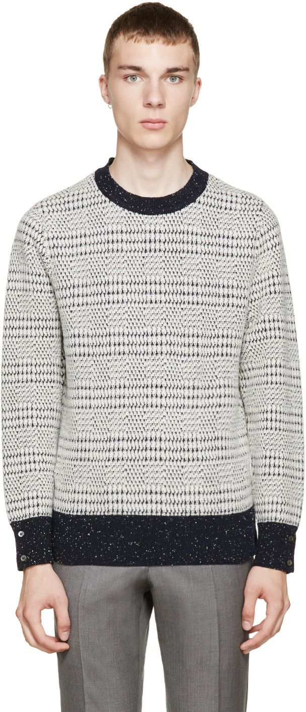 Thom Browne Navy & Ivory Wool Sweater