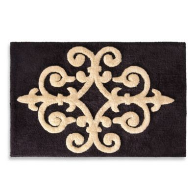 bombay sarto 20 inch x 30 inch bath rug gold on black