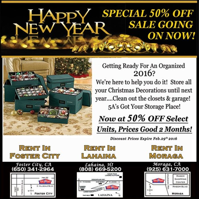5 A Rent A Space Self Storage January Special. Discount Valid At All 3  Locations: Foster City, CA; Moraga, CA;