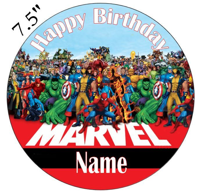 Personalised Superhero Edible Icing Cake Topper or Cupcake Toppers by BuyingBritish on Etsy