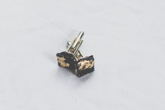 DIY Gold Leaf Cufflinks for Dad | http://hellonatural.co/diy-cufflinks-with-gold-leaf-and-clay/