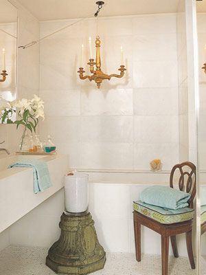 powder room with master bath chandelier from vaughan