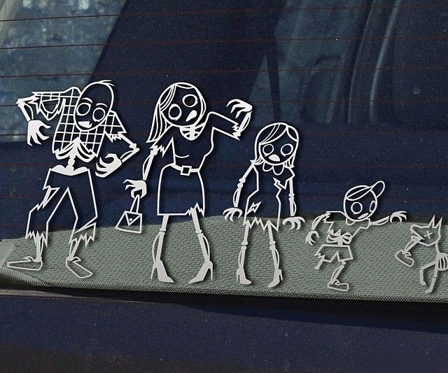 Show off your ever growing family with these shambling zombie family car stickers. Put them on your minivan and display your love for zombies and wholesale family things - or infect random vehicles with these stickers and proclaim them to be apart of your zombie army!