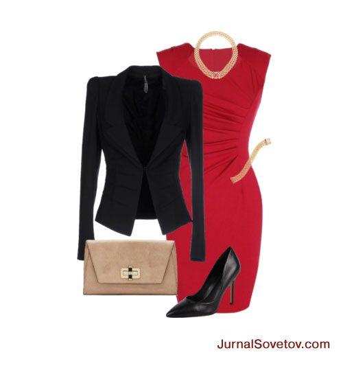 С чем носить красное платье - черный жакет+клатч+украшения+черные туфли.