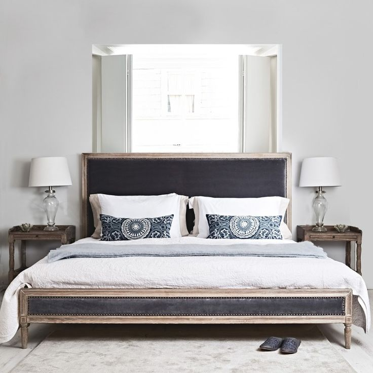 Boston Bed - Grey Velvet and Oak