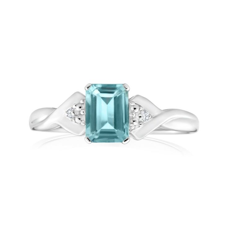 Natural Aquamarine and Diamonds set Dress Ring in 9ct White Gold ($199.00) from Shiels.com.au