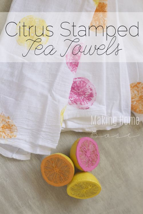 Summer Citrus Stamped Tea Towels