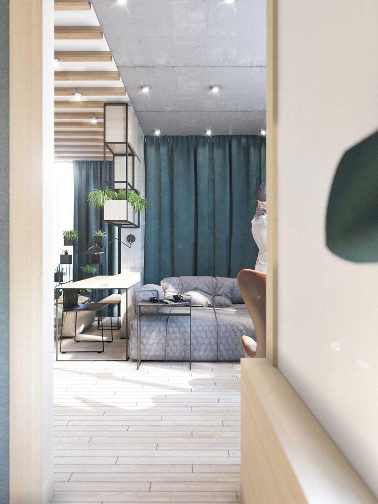 Madeira, concreto aparente, tijolos expostos, madeira no teto e... um fundo azulado. Legal, né?                                           ...