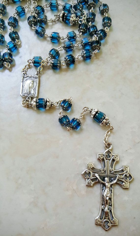 Teal Blue Silver Czech Cathedral Glass Rosary by Blessandhealme