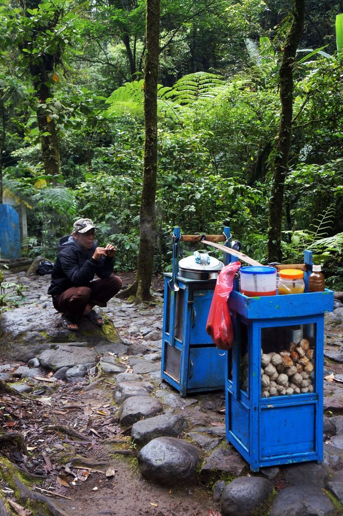 Forest vendor: A local carrying a blue cart all the way up to through challenging path just to sell meat balls to make a living. (Photo by Icha Rahmanti).