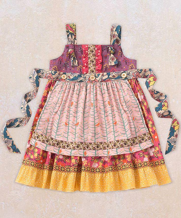 Matilda Jane Clothing Pink & Teal Kira Knot Apron Dress by Matilda Jane Clothing #zulily #zulilyfinds