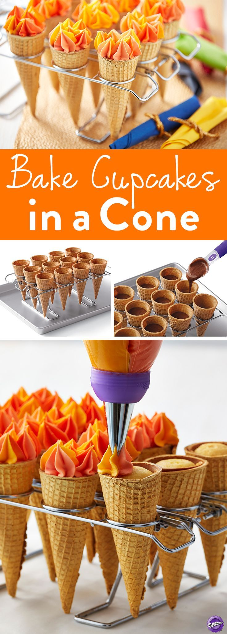 How to Bake Cupcakes in a Cone - Easily bake, decorate and serve cupcakes in sugar or cake ice cream cones using the Wilton Cupcake Cone Baking Rack. It's the fun way to serve and eat cupcakes. Bake them in your favorite ice cream cones using this convenient oven-safe rack. Holds batter-filled cones steady in the oven to bake a treat that's easy to hold and fun to decorate.