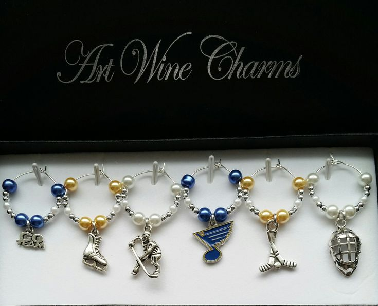 6 St Louis Blues Hockey themed Wine Charms, Blues, Hockey, Themed Party, Party Favors, Coach, Gift, Thank You, Sports, Gift for a Blues Fan by PickinsGalore on Etsy