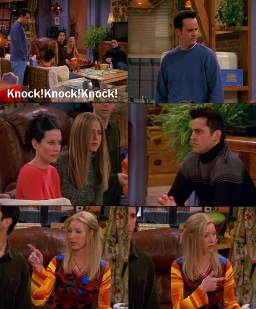 I absolutely loved this scene! Who could possibly be at the door if all six of them were sitting there...