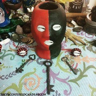 5 In.Red & Black Eleggua Head &Offerings-Open Roads, Opportunity