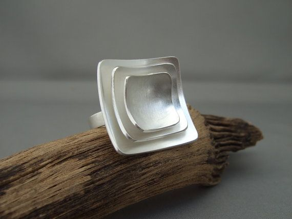 Square Domed Sterling Silver Statement Ring