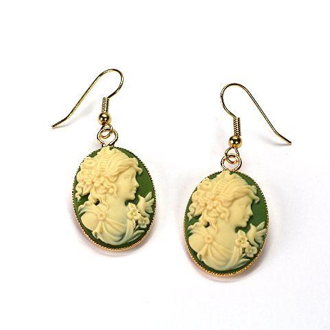 Gemmen-Ohrringe grün mit Dame   TUKADU