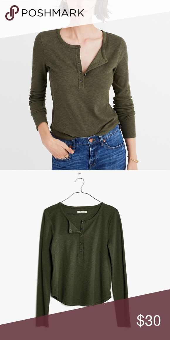 NWT Madewell Ribbed Henley Tee Olive Green Brand new, with tags. A slim-fitting henley tee in supersoft textural rib. A throw-it-on-and-go fave to wear with overalls or high-rise anything. Madewell Tops Tees - Long Sleeve